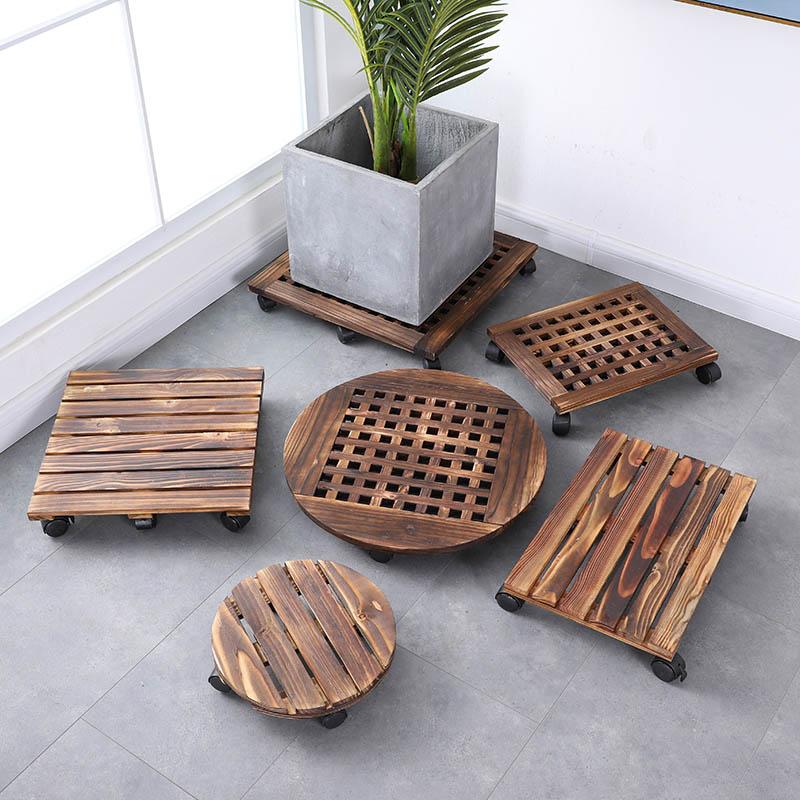 防腐木可v木制木制托盘滚轮带圆形实花托花盆万向轮长方形盆栽底座