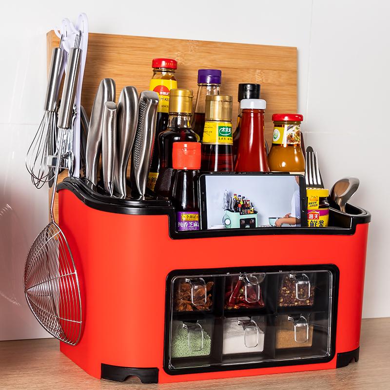 买一顶八厨房置物架调料盒组合套装