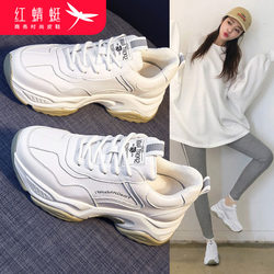 Red dragonfly old shoes women's shoes 2021 new white shoes spring wild spring thick bottom casual sports ins tide