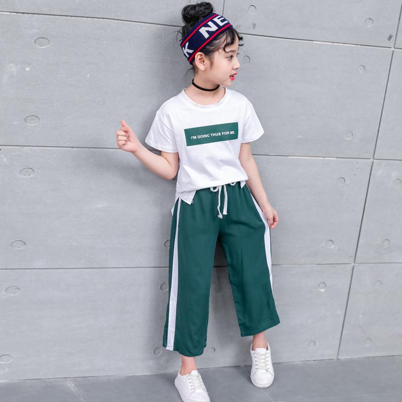 女童夏装阔腿裤套装2020新款洋气夏季运动中大童儿童装韩版两件套