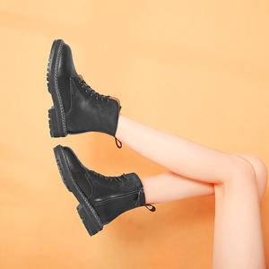 頭層牛皮馬丁靴女鞋2019新款真皮加絨厚底工裝靴英倫風短靴機車靴