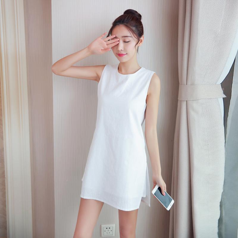 韩版修身中长款高腰A字裙纯色无袖