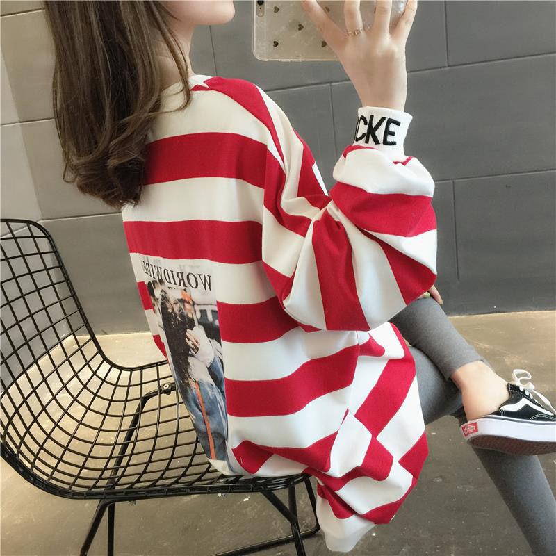卫衣女学生2020春新款网红宽松卫衣中长款韩版百搭外套上衣女9