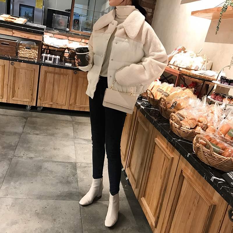 兔毛女棉服2018冬季新款韩版水貂毛短款加厚拼接外套