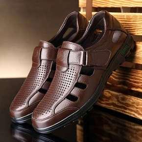 男皮凉鞋真皮透气镂空男士皮鞋中老年爸爸鞋