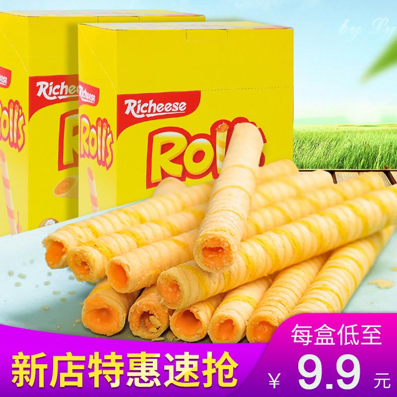 印尼v饼干饼干Richeese丽芝士芝心棒奶酪味夹心卷180g注心夹心零食
