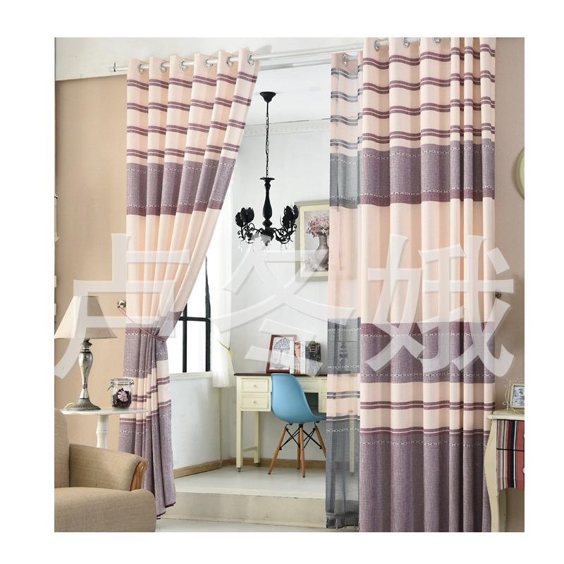 棉麻窗帘 欧式印花棉麻窗帘罗马帘客厅遮光色织提花窗帘布A07