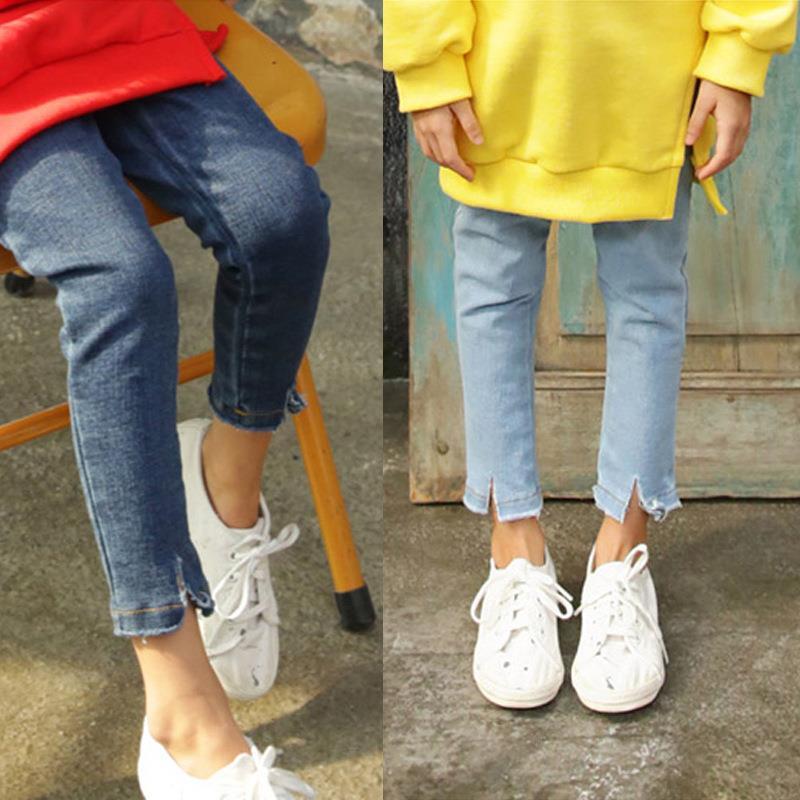 2017铅笔韩版中大新款纯色女童小脚牛仔裤秋装童修身弹力长裤子