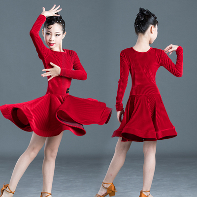 Children's Latin dance dress style South Korean Plush long sleeve girl's Latin training clothes girl's test competition clothes