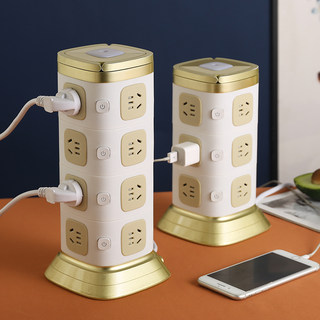 Multi-function tower multi-layer vertical socket panel multi-well with USB wiring board stereo insert box creative home multi-use wiring board extended home