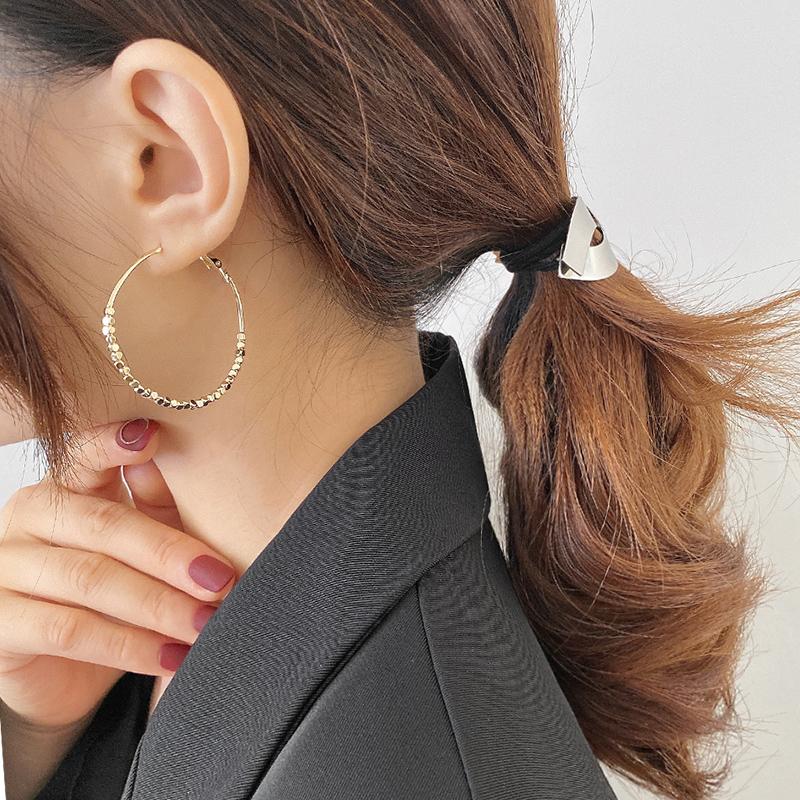 方块金豆豆耳圈2021年新款潮夸张大耳环欧美风个性网红设计感耳饰