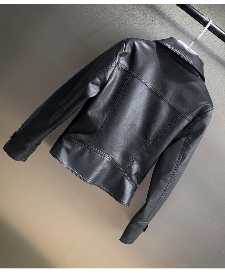 2020 autumn and winter new locomotive leather jacket short Korean version of hot drill lady yang air thin Mickey coat tide 38 Online shopping Bangladesh