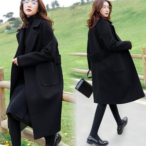 龙凤呢黑色外套女2020秋冬新款气质加厚毛呢大衣