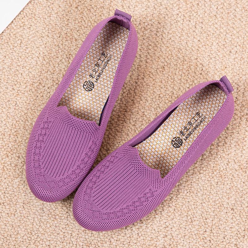 2020老北京布鞋女新款春夏透气飞织网面鞋浅口透气防滑老年妈妈鞋