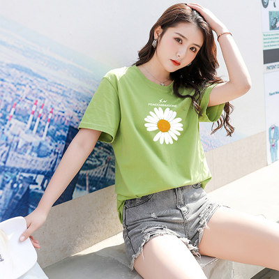 Short-sleeved 2021 new female summer loose cotton T-shirt white large size bottoming shirt body 桖 桖衣 lovers