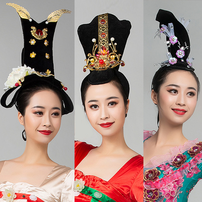 Chinese Classical empress queen dance Dunhuang Hanfu dance headdress hair ornament drum costume headdress ancient style wig hair