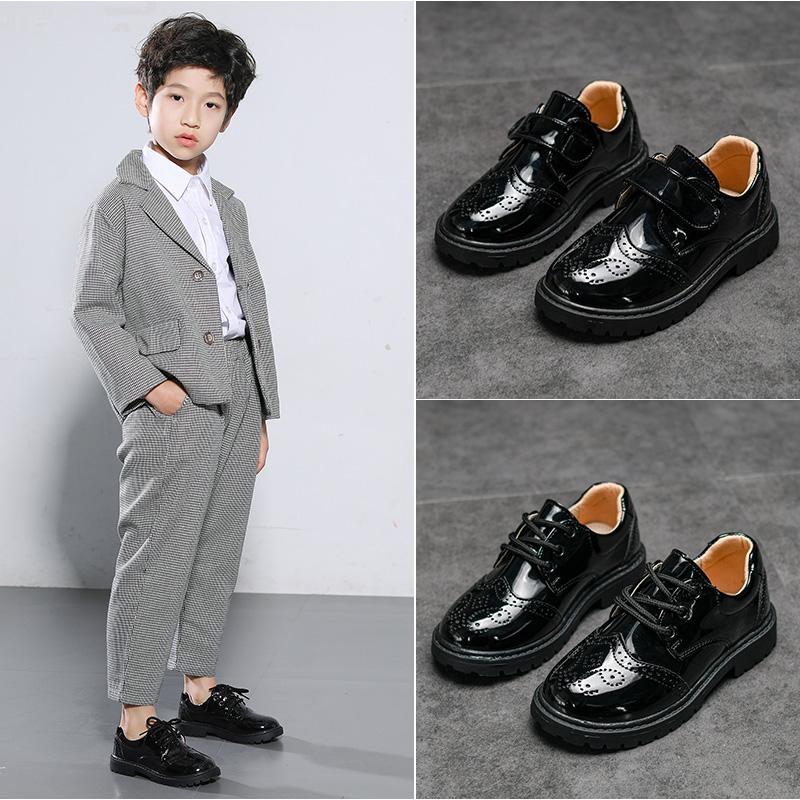 童鞋男童皮鞋黑色软底英伦春秋新款儿童2019学生花童小男孩演出鞋