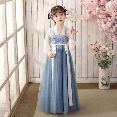 Chinese Hanfu girls children's Tang costume super immortal ancient dress children's suit 12-year-old girl's elegant Ru skirt