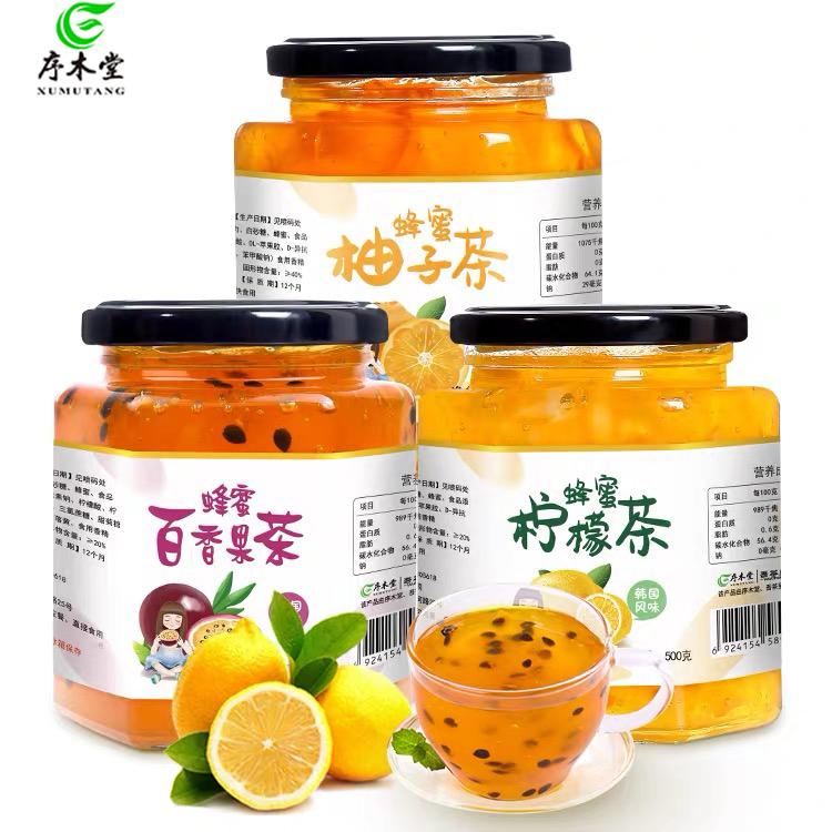 序木堂蜂蜜柚子500g罐装冲水喝的饮品柠檬茶百香果茶冲饮水果茶酱