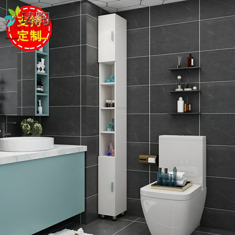 Toilet sandwich toilet side cabinet toilet toilet narrow cabinet hole-free rack can be custom-made