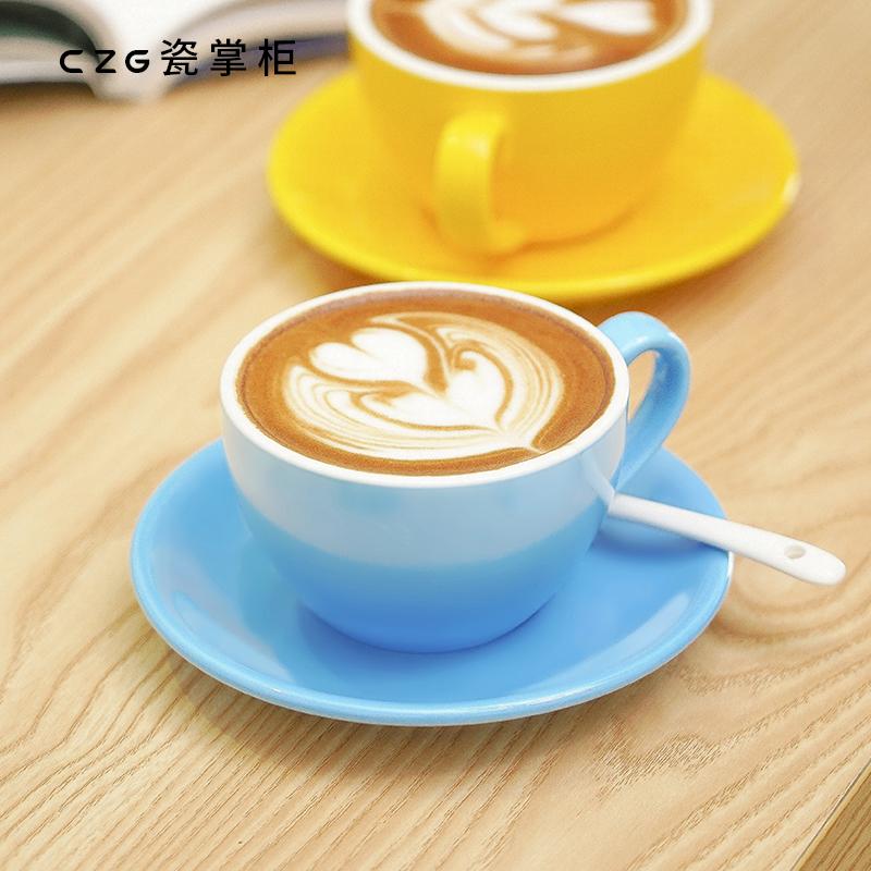 瓷掌柜 咖啡杯220ml欧式小奢华陶瓷咖啡杯比赛拉花杯家用小咖啡杯