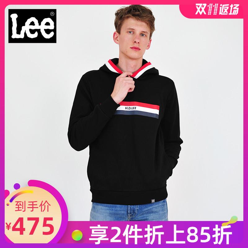 Lee男士卫衣秋冬款黑色长袖宽松连帽潮流套头运动服L318773RWK11