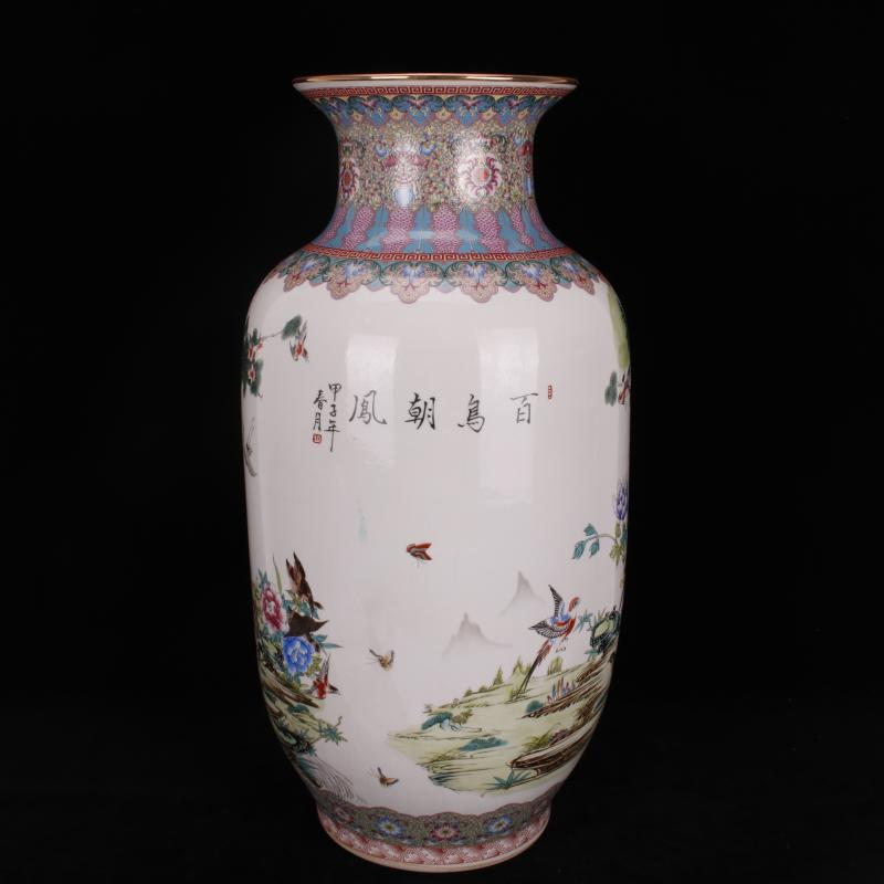 Archaize of jingdezhen porcelain birds pay homage to the king, the idea for gourd bottle of large vases, Chinese domestic outfit company store decoration vase