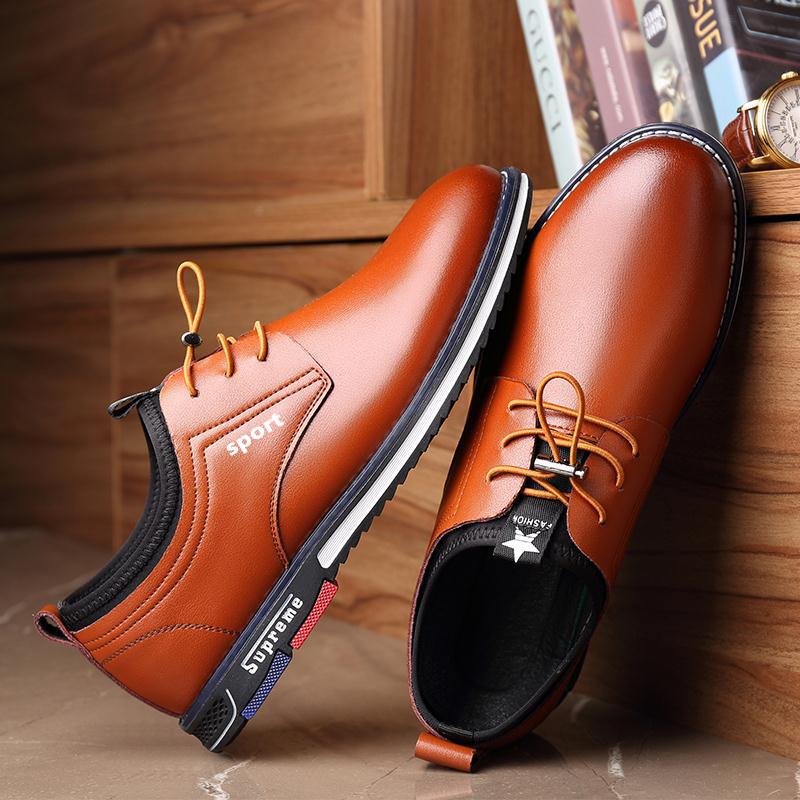 新款男士皮鞋正装男韩版百搭黑色英伦商务软面皮青年男鞋春季鞋子