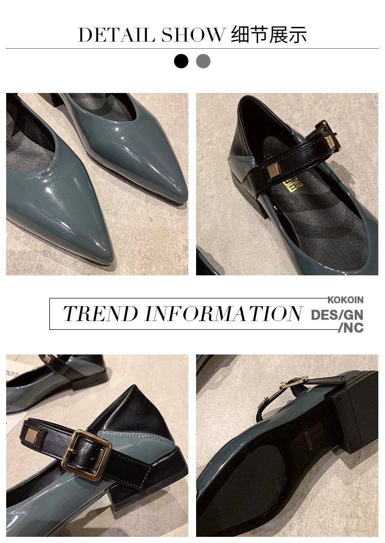Autumn single-shoe women's 2020 new low-heeled flat-soled shoes women's one-word buckle with shallow-mouthed pointed women's shoes lacquered leather shoes 42 Online shopping Bangladesh