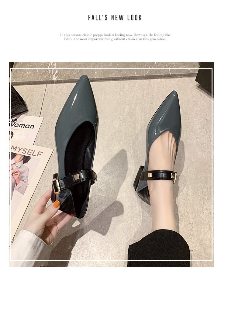 Autumn single-shoe women's 2020 new low-heeled flat-soled shoes women's one-word buckle with shallow-mouthed pointed women's shoes lacquered leather shoes 52 Online shopping Bangladesh