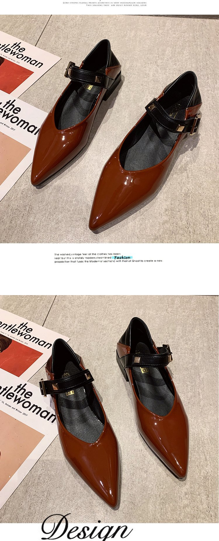 Autumn single-shoe women's 2020 new low-heeled flat-soled shoes women's one-word buckle with shallow-mouthed pointed women's shoes lacquered leather shoes 55 Online shopping Bangladesh