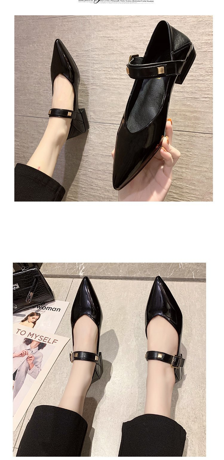 Autumn single-shoe women's 2020 new low-heeled flat-soled shoes women's one-word buckle with shallow-mouthed pointed women's shoes lacquered leather shoes 43 Online shopping Bangladesh