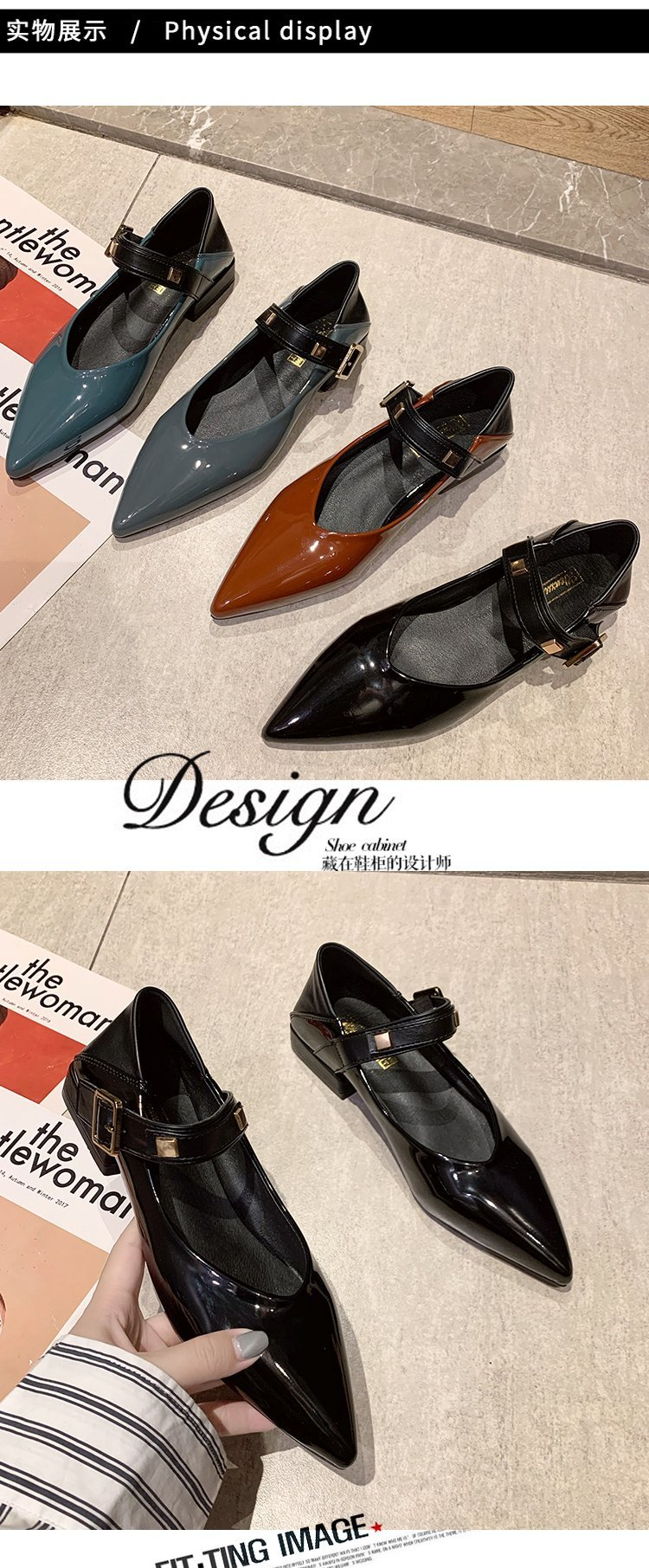 Autumn single-shoe women's 2020 new low-heeled flat-soled shoes women's one-word buckle with shallow-mouthed pointed women's shoes lacquered leather shoes 53 Online shopping Bangladesh