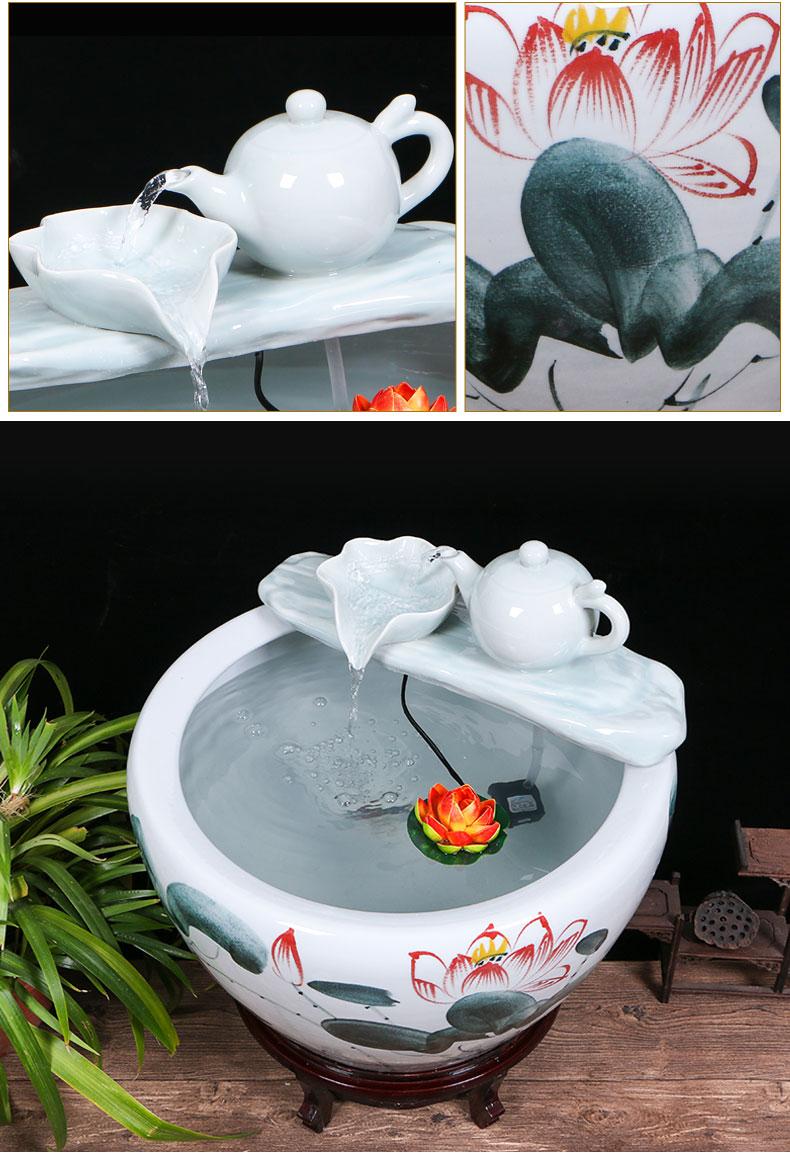 Jingdezhen ceramic aquariums household water fountain jin large fish bowl furnishing articles sitting room humidifying landscape