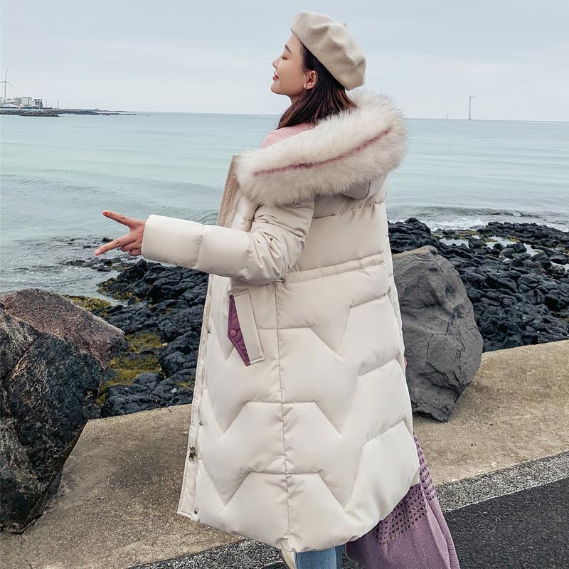 反季2019新款外套羽绒女棉服冬季韩版收腰加厚棉衣中长款过膝棉袄