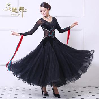 Платья,  Весна новый большой качели бархат черный стране знак танец платье конкуренция одежда современный танец платить дружба танец одежда женщина производительность, цена 14800 руб