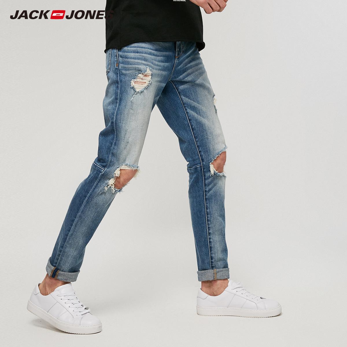 JackJones 杰克琼斯 男士破洞修身牛仔裤