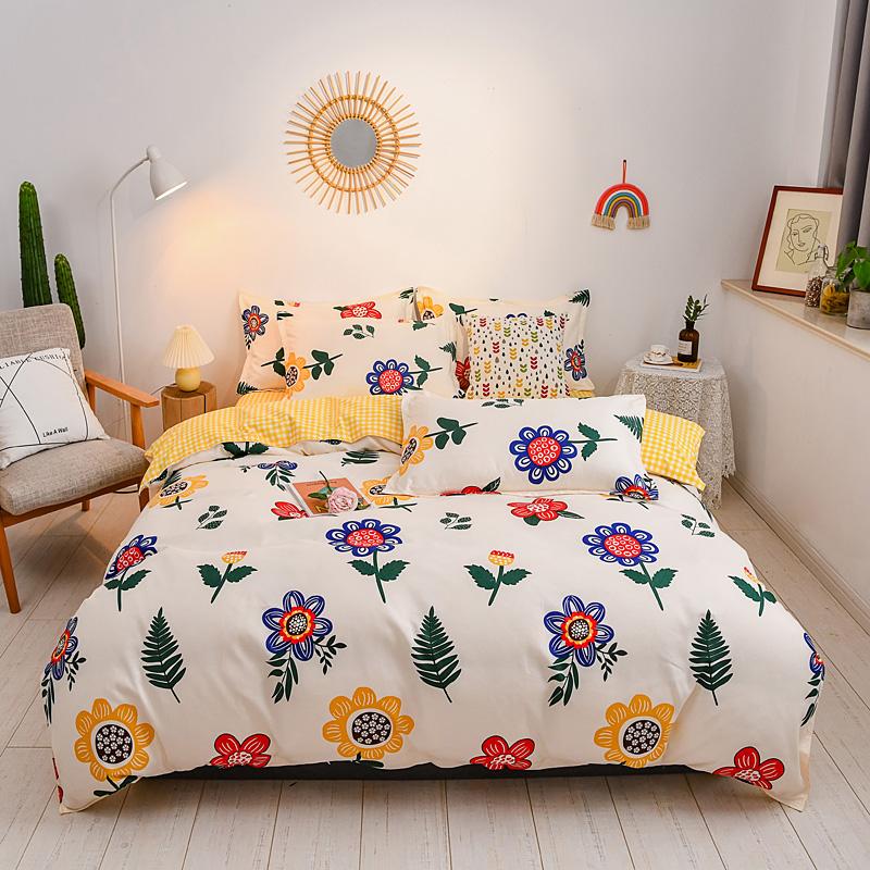 纯棉磨毛床上用品四件套全棉1.5米床笠