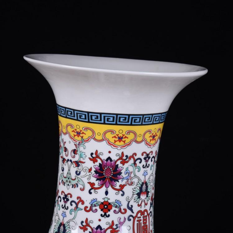 Jingdezhen ceramic handicraft white enamel live big vase household living room TV cabinet decorative furnishing articles