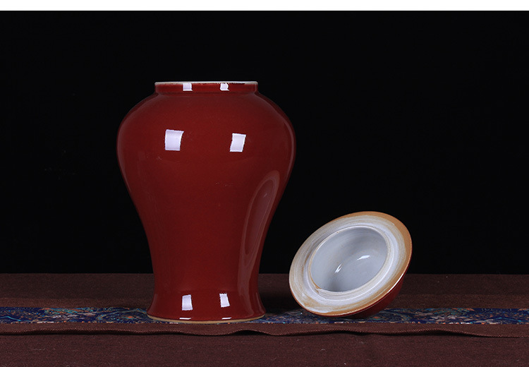 Jingdezhen ceramic furnishing articles antique ruby red glaze ceramic cover pot large general storage tank go porch decoration