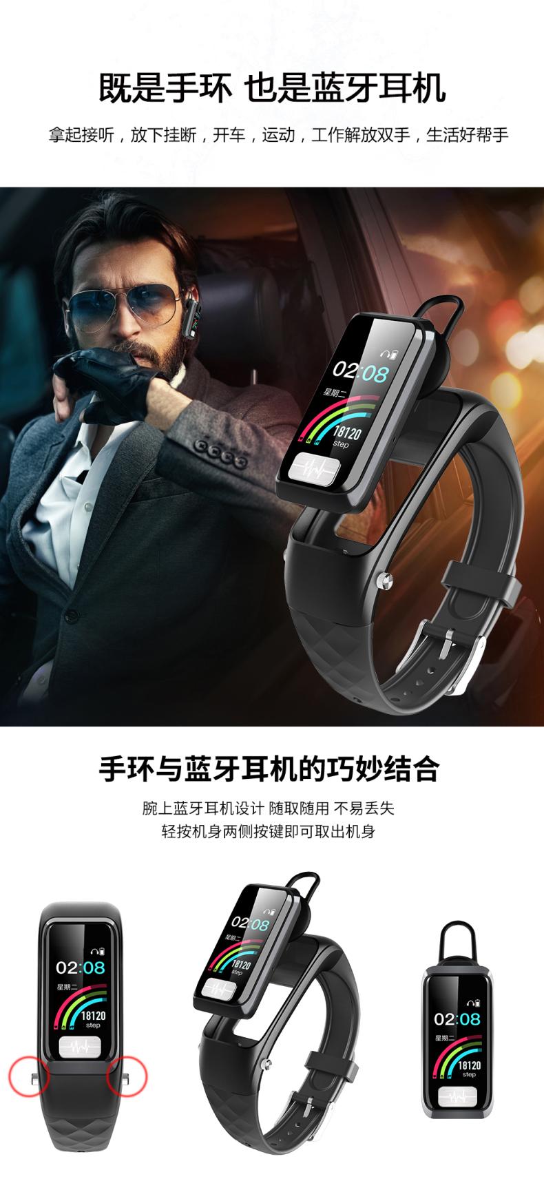 殴姆珑智能手环血压通话手环心率报警检测仪智能手錶心电图心臟心跳脉搏防水运动计步老人苹果安卓通用详细照片