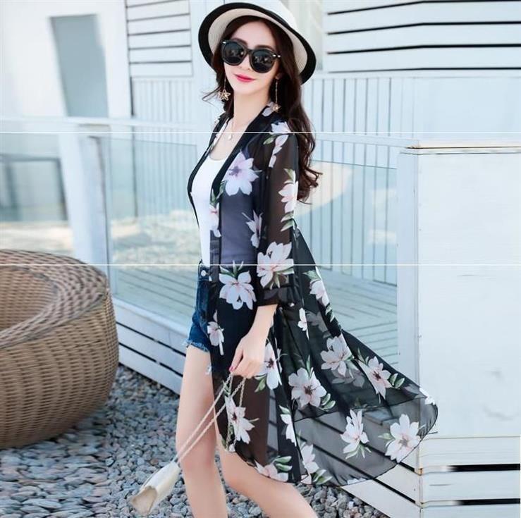 开衫长款透明少女很仙防晒衣女士薄纱透气罩衫短款度假防紫外线