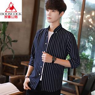 报喜公鸡夏季衬衫男士短袖外套潮牌2020新款衬衣韩版潮流帅气
