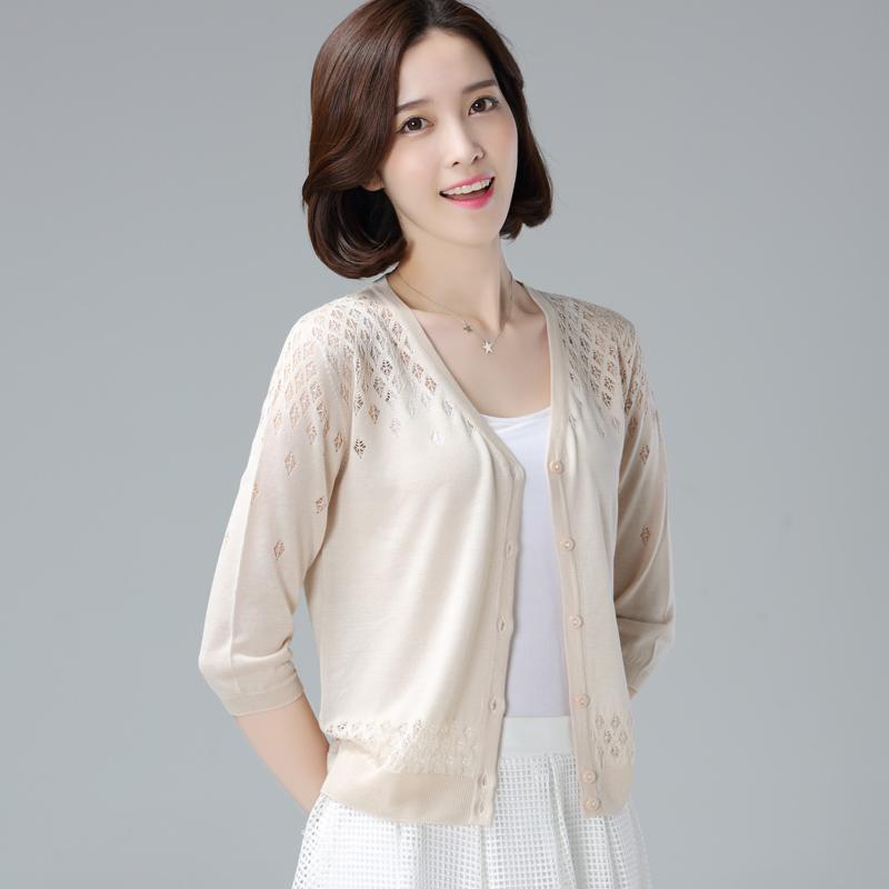 夏季防晒衫女冰丝针织薄外套小衫