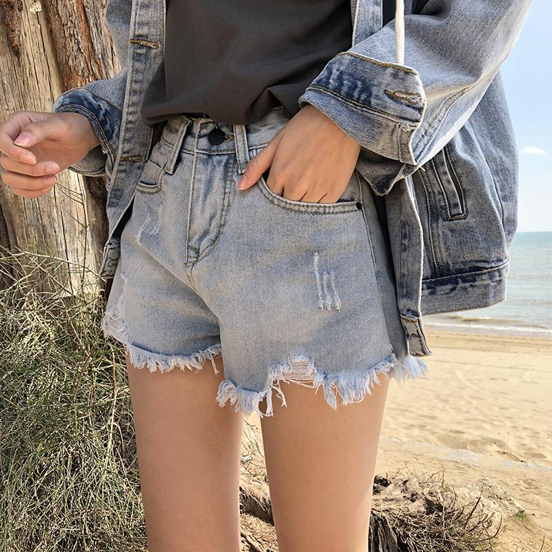 牛仔短裤女夏季韩版外穿宽松阔腿高腰热裤