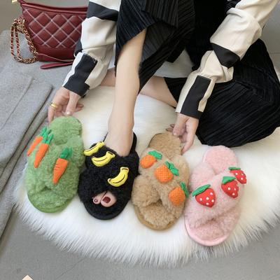 兔毛毛拖鞋女外穿2019秋冬季新款网红时尚草莓可爱交叉毛拖ins潮