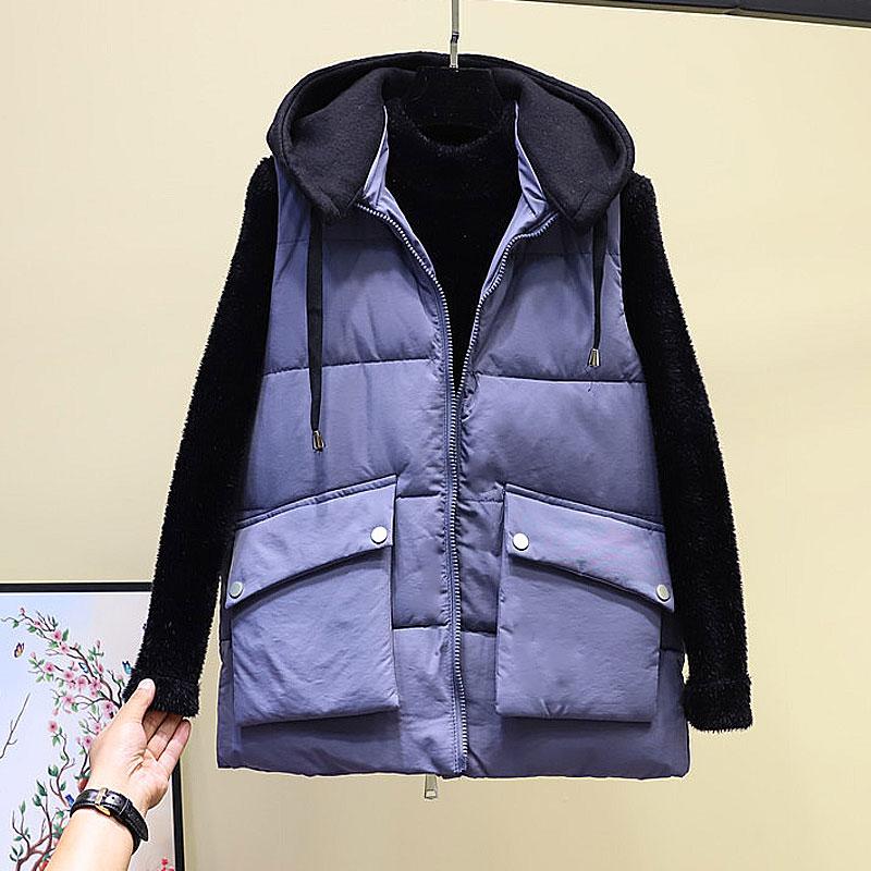 2019 thu đông mới vest nữ vest ngắn phiên bản Hàn Quốc có thể tháo rời mũ eo xuống áo khoác cotton vest không tay - Áo vest