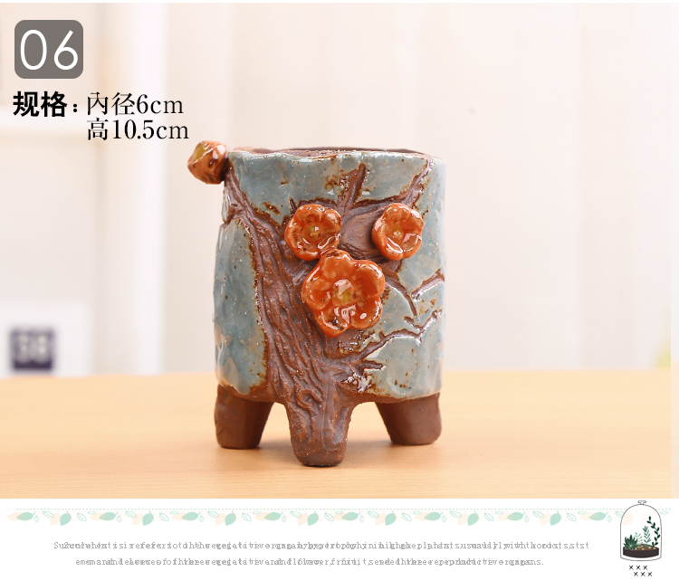 Colorful fleshy ceramic flower pot small fleshy old running the mage basin to much meat platter coarse pottery breathable move hand - made