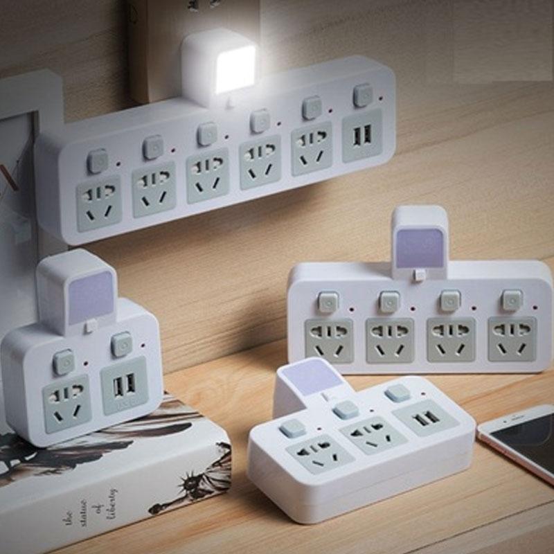 插座转换器无线一转多USB独立开关小夜灯无线插座排转换插头