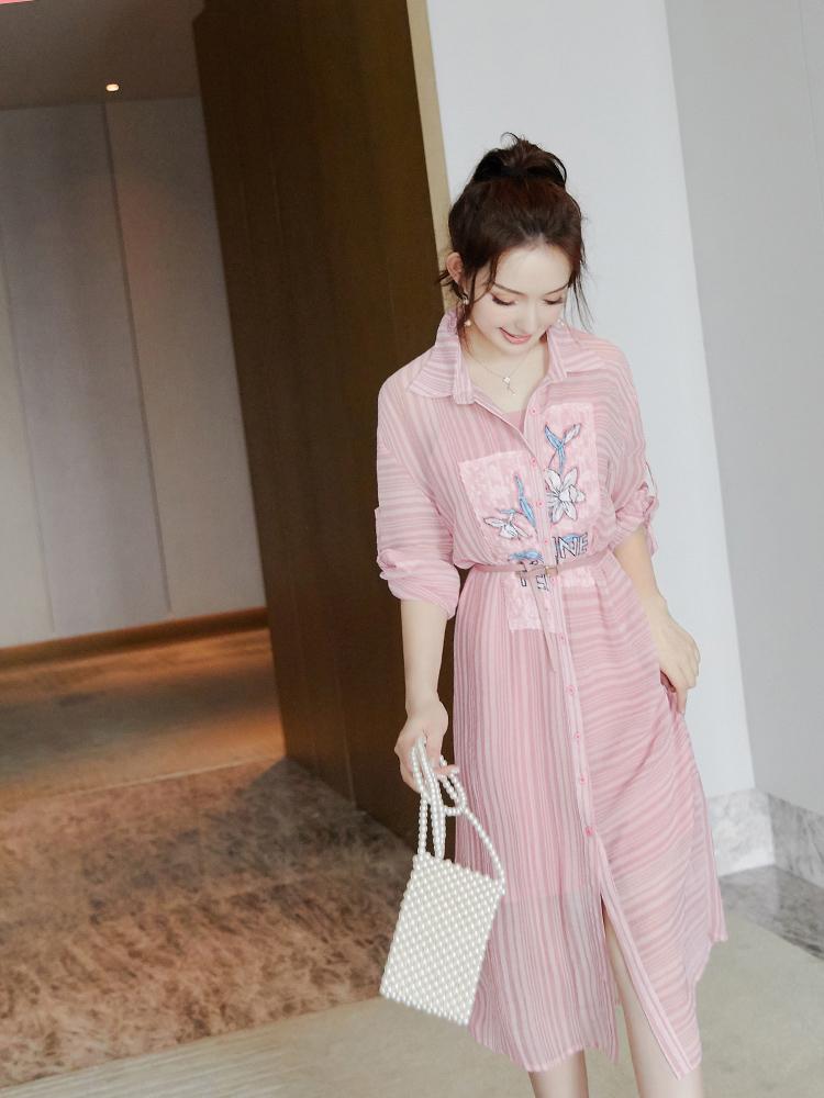 温幻复古衣女2019新款雪纺法式防晒裙过膝很仙沙滩粉色夏装连衣裙